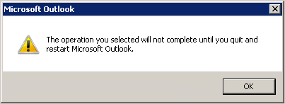 Outlook 2010 notification window