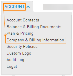 Company and Billing information