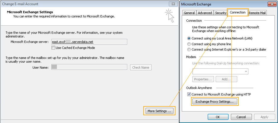 Connection settings Outlook 2010