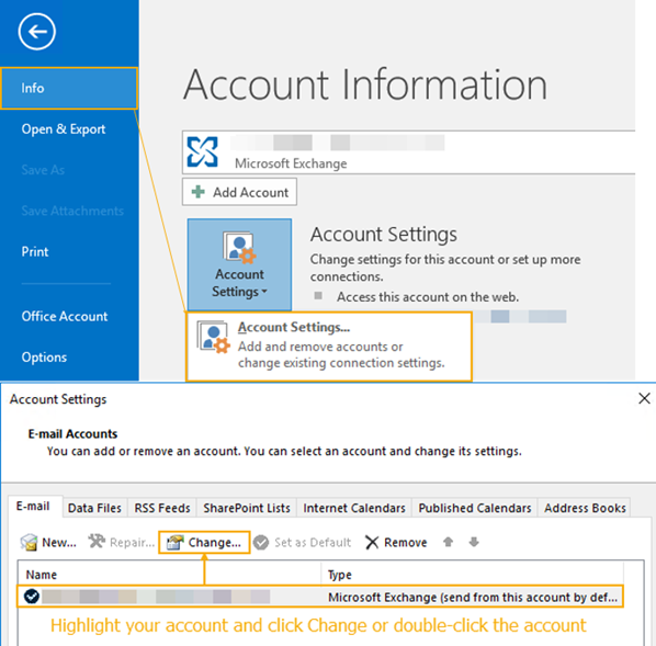 Outlook 2013 Account settings