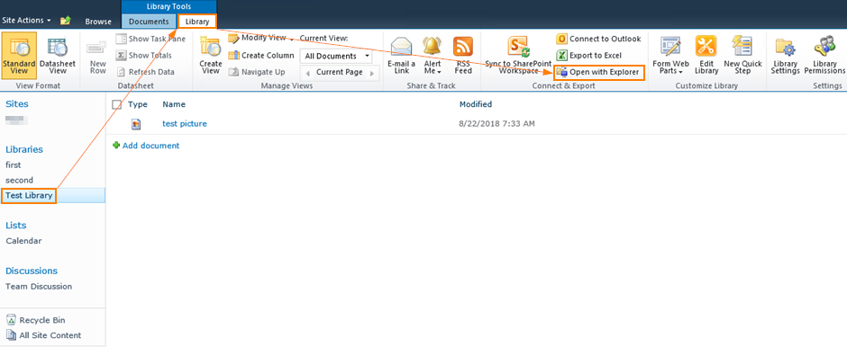 How Do I Open SharePoint 2010 Document Library In Windows