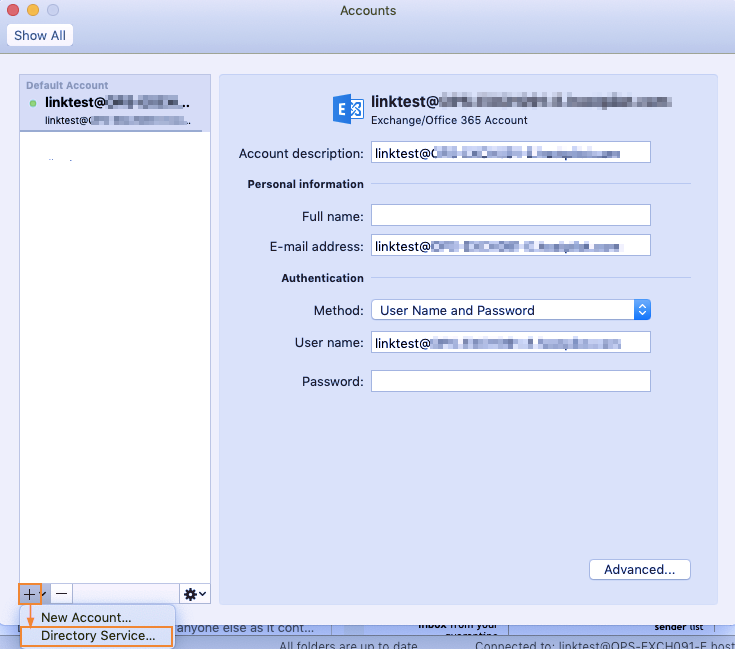 How To Configure Directory Service In Outlook For Mac - Intermedia