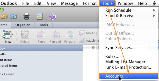 Outlook 2011 > Tools > Accounts