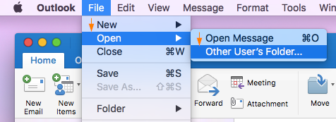 How To Open Shared Folders In Outlook 2011/2016 For Mac