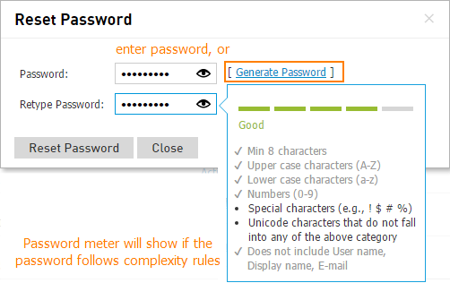 Reset Password On User Settings Page
