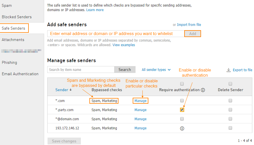 Email Protection: Policy Level Safe & Blocked Senders Lists