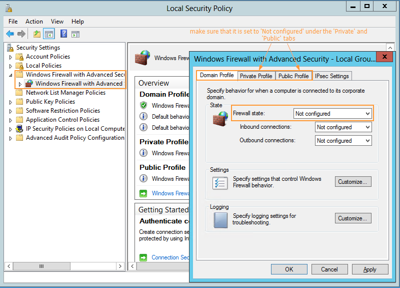 Accesing Firewall Settings