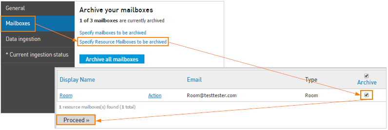 Enable Email Archiving for a resource mailbox