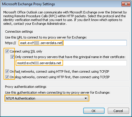 Outlook 2010 Proxy Settings