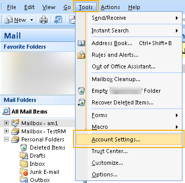 Outlook 2007 Account Settings