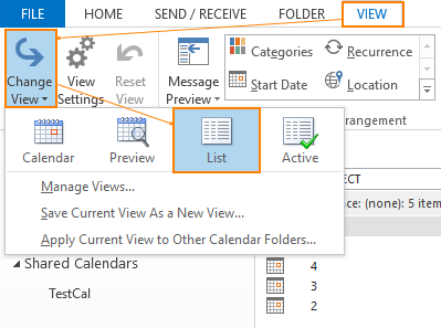 List View in Outlook