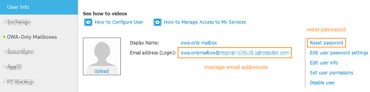 Manage OWA-only mailbox