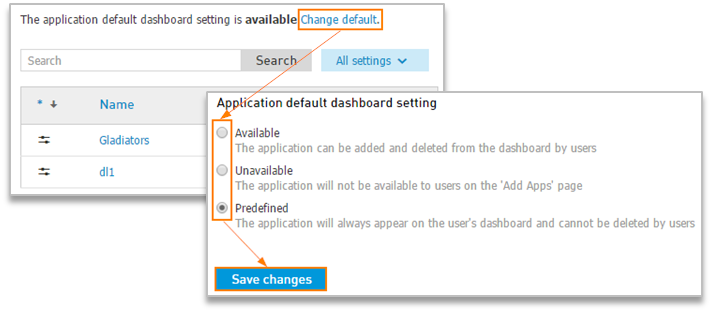 Change default setting