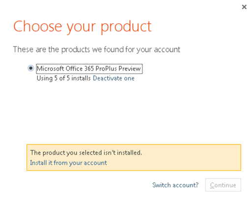 Office 365 Exceeded Installations