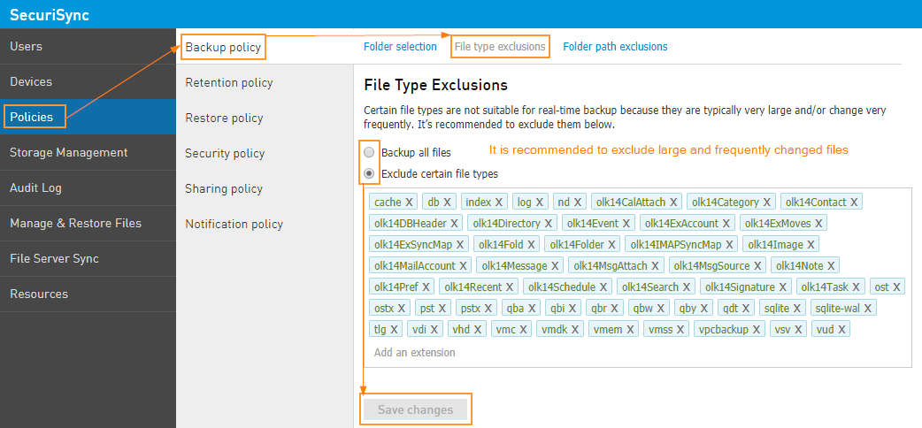 File Type Exclusions