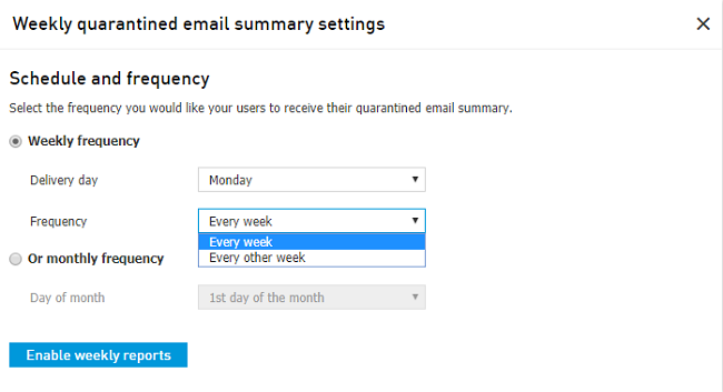 Weekly quarantined email reports