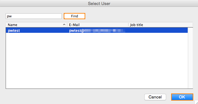 Outlook 2011 Select User