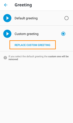 Replace custom greeting Android