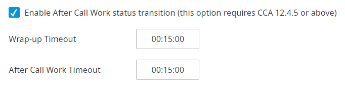 Enable After Call Work Status transition