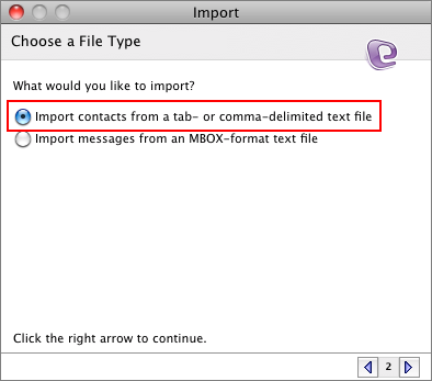 Import contacts from a tab- or comma-delimited file