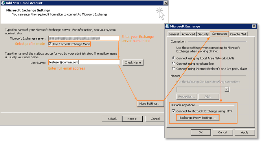 How Do I Manually Connect Outlook 2007 To My Exchange