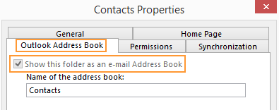 Show folder as Address Book