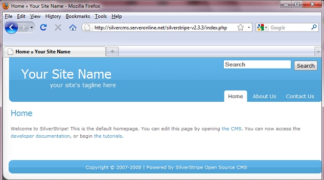 Default SilverStripe home page
