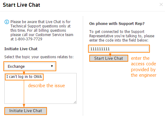 Initiate Live Chat