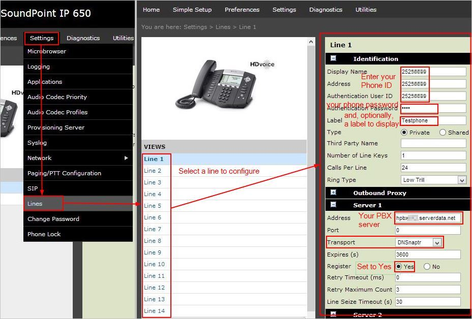 Configuring a Polycom SoundPoint IP Phone for Hosted PBX