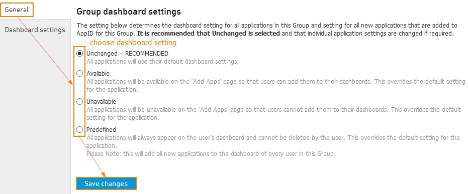 App Dashboard settings