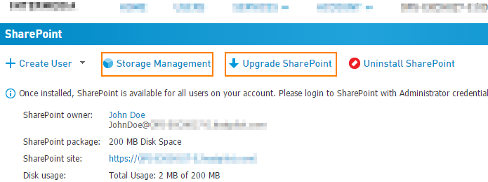 SharePoint storage via HostPilot