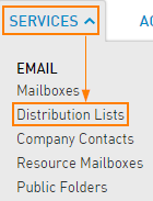 Service > Distribution Lists