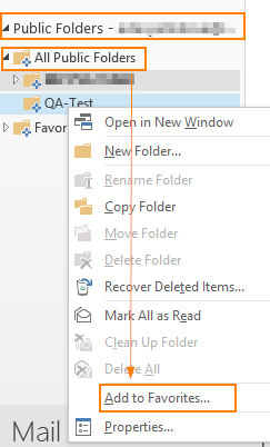 Outlook favorites