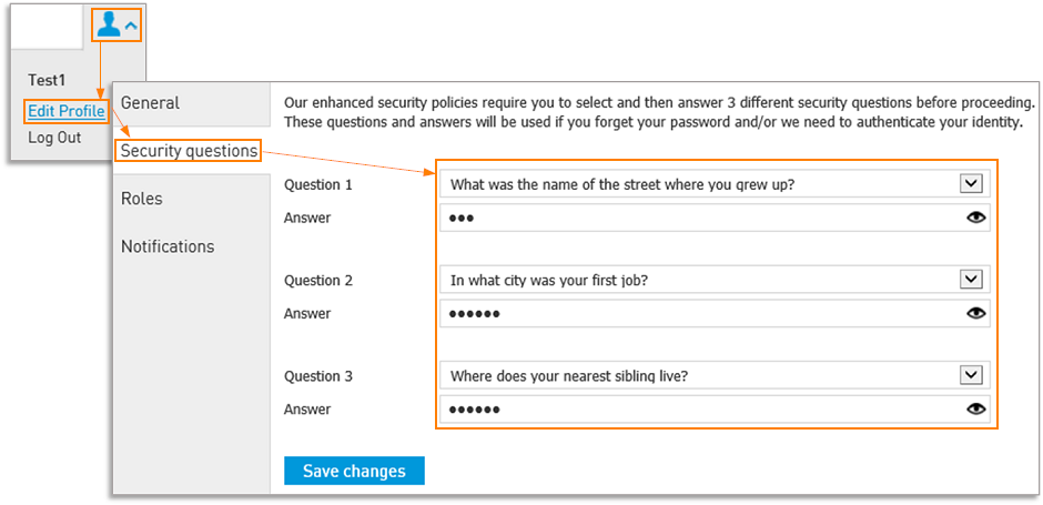 Edit Profile > Security Questions