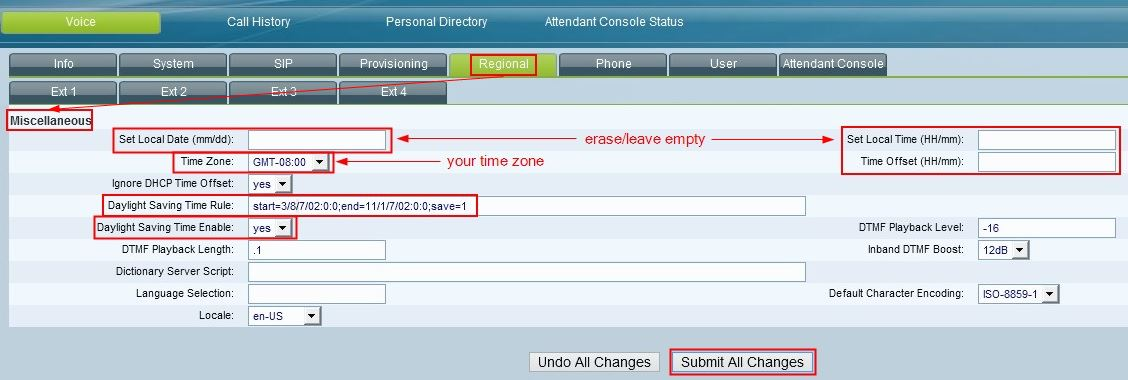 Configure Time On Polycom And Linksys/Cisco SPA Phones - Intermedia
