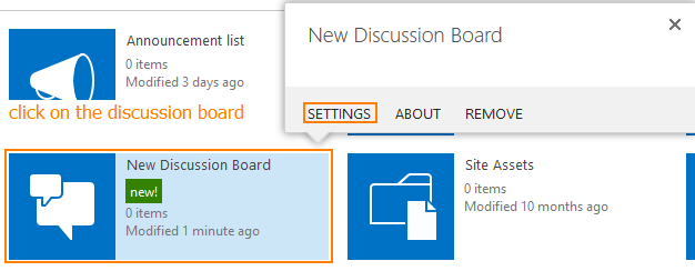 Discussion board settings