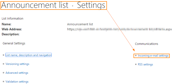 List email settings