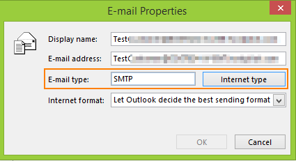 Internet type SMTP