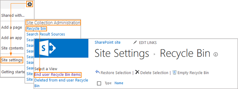 Site Settings - Recycle Bin