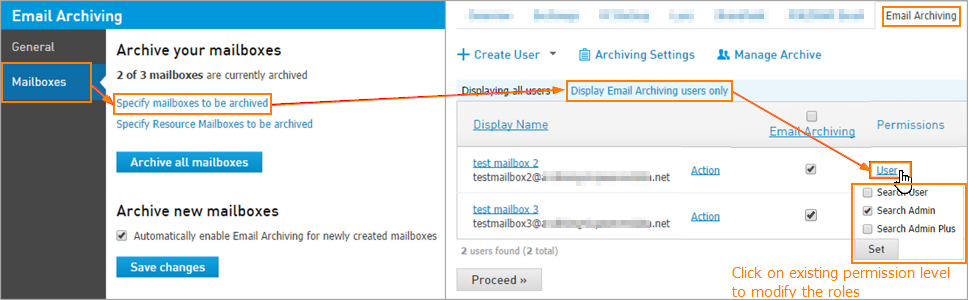 Set user permissions for Email Archiving