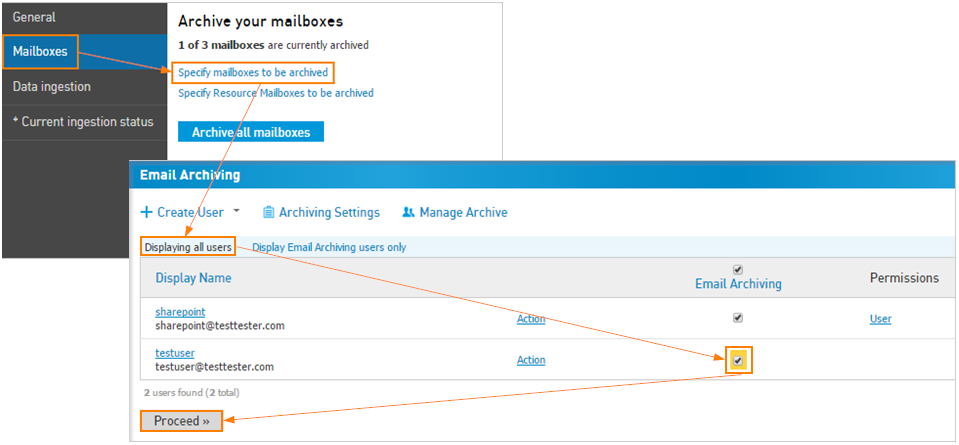 Enable Email Archiving for a user