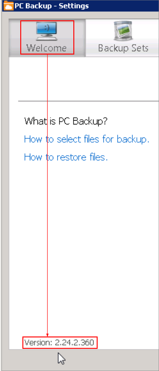 PC Backup settings