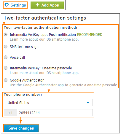 Change Two-factor authentication settings