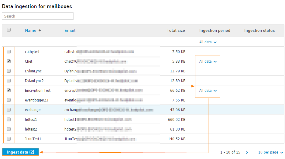 Select mailboxes for data ingestion
