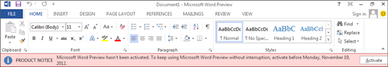 Office 365 Application activation