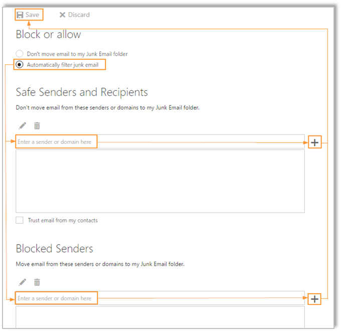 Email Protection: End User Safe/Blocked Senders Lists
