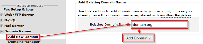 Adding second-level domains